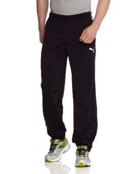 PUMA Herren Hose Spirit Poly Pants with Zipped Leg Opening, Black/White, M, 654041 03 - 1